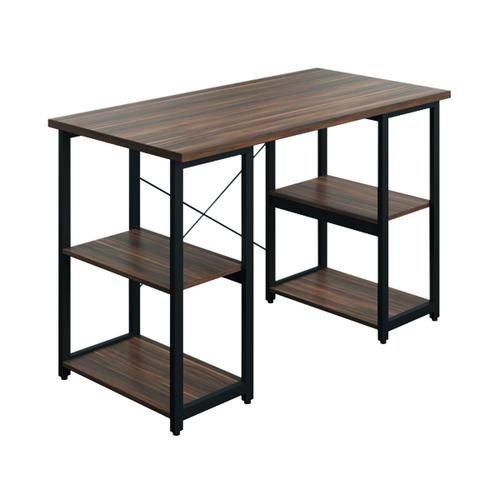 SOHO Computer Desk Walnut W1300mm Square Leg Shelves Black SOHODESK8