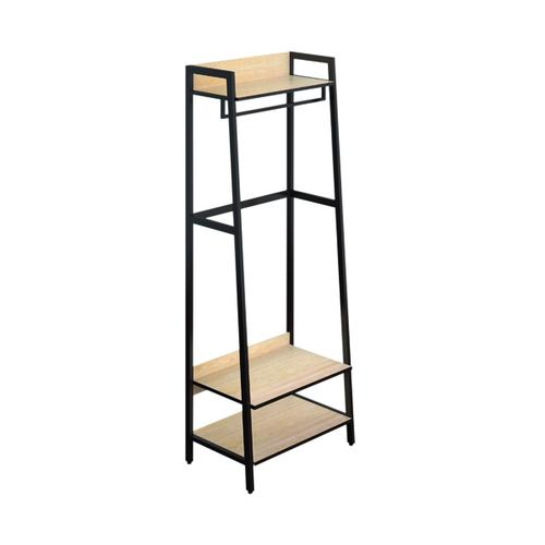 SOHO Coat Stand H1690mm with Rail 3 Shelves Oak/Brown Metal SOHOBOOK1