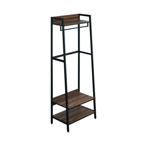 SOHO Coat Stand H1690 with Rail 3 Shelves Walnut/Brown Metal KF90857