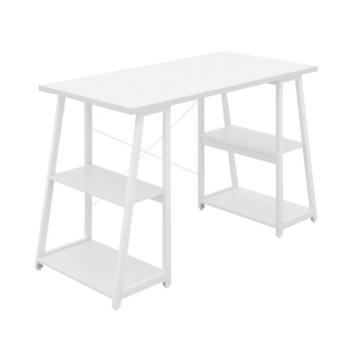 SOHO Computer Desk White W1200mm A-Frame White Leg Shelves SOHODESK5WH