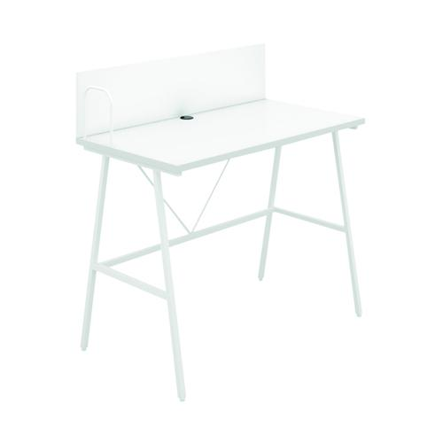 SOHO Computer Desk W1000mm with Backboard White/White Legs SOHODESK9WH