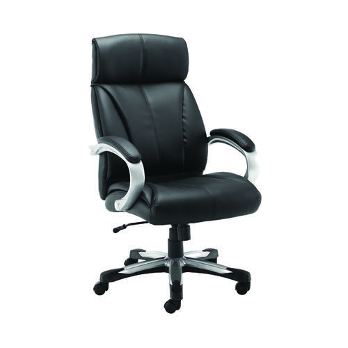Jemini Chad Heavy Duty Chair 830x360x650mm Leather Black KF90923