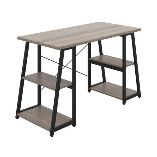 First Soho Desk with Angled Shelves 1300x600x770mm Grey Oak/Black KF90956