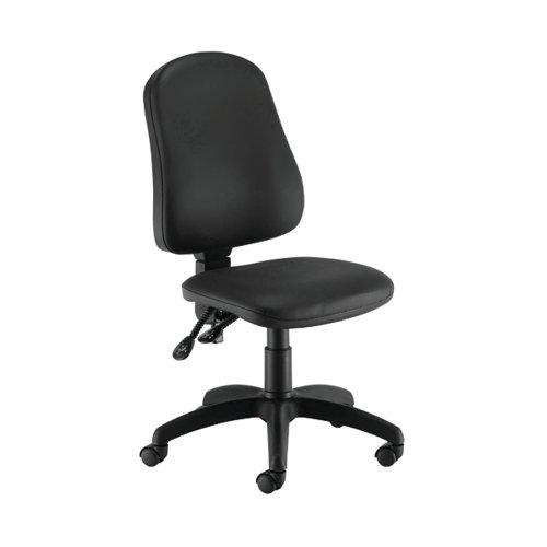 First Calypso Operator Chair 640x640x985-1175mm 2 Lever Polyurethane Leather Black KF90959
