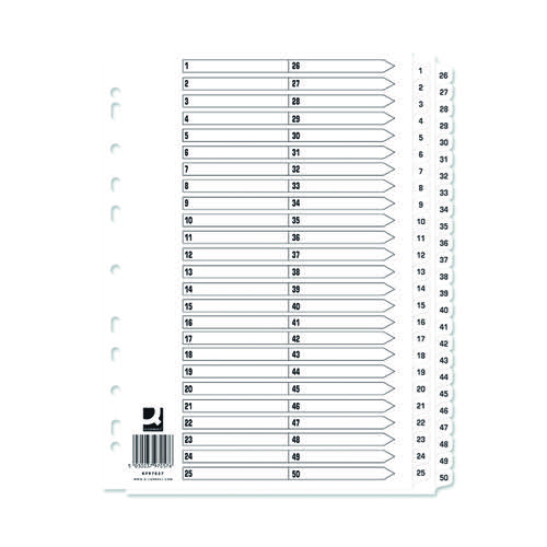 Q-Connect A4 1-50 Mylar Index (Pack of 10) KF97057Q