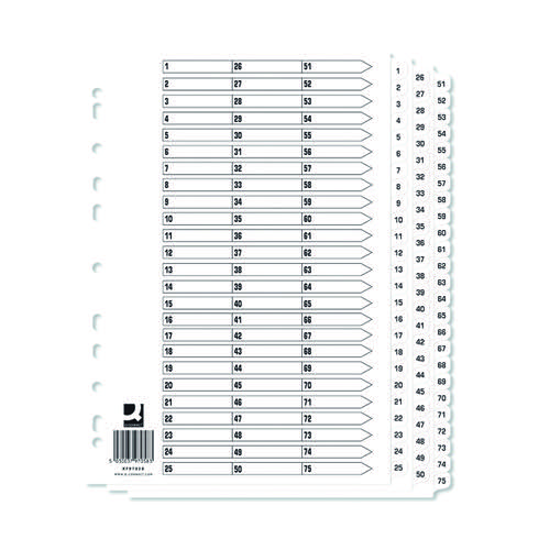 Q-Connect A4 1-75 Mylar Index (Pack of 10) KF97058Q