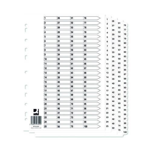 Q-Connect A4 1-100 Mylar Index (Pack of 10) KF97059Q