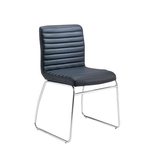 First Meeting Chair Black PU Chrome Base KF98508