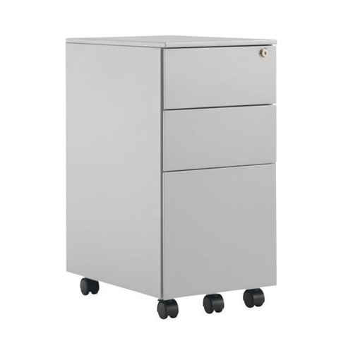 First Steel Slimline Under Desk Pedestal 3 Drawer Silver KF98515