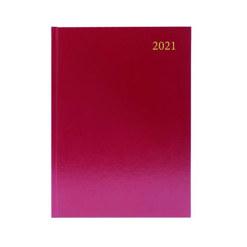 Desk Diary Day Per Page Appointments A4 Burgundy 2021 KFA41ABG21 Desk Diaries KFA41ABG21