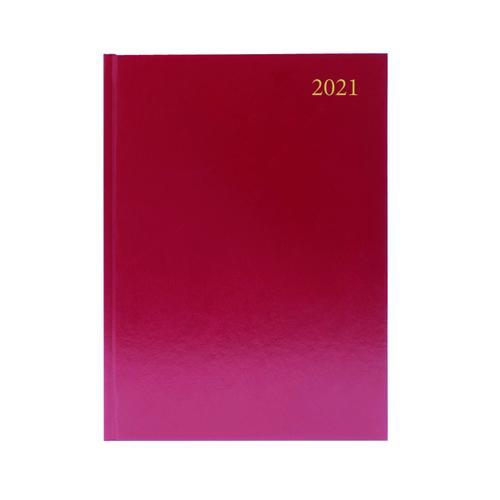 Desk Diary Day Per Page A4 Burgundy 2021 KFA41BG21