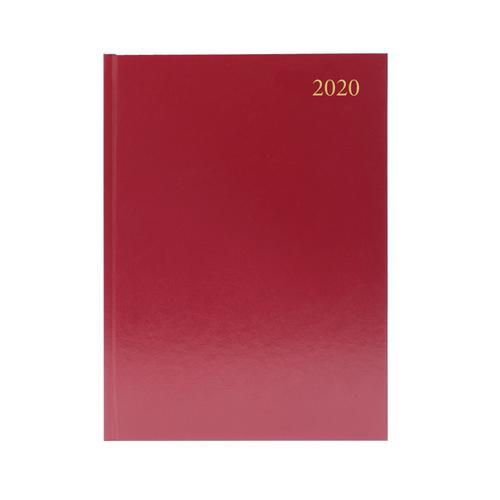 Desk Diary A4 2 Days Per Page 2020 Burgundy KFA42BG20