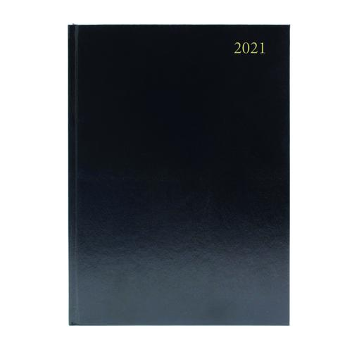 Desk Diary 2 Days Per Page A4 Black 2021 KFA42BK21