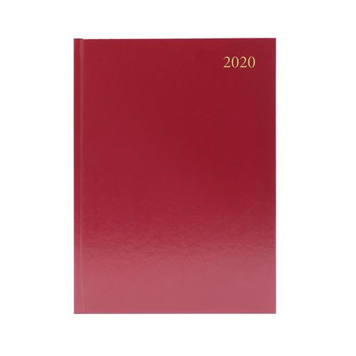 Desk Diary A4 Week to View 2020 Burgundy KFA43BG20