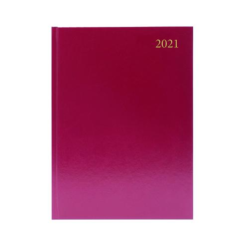 Desk Diary Day Per Page Appointments A5 Burgundy 2021 KFA51ABG21