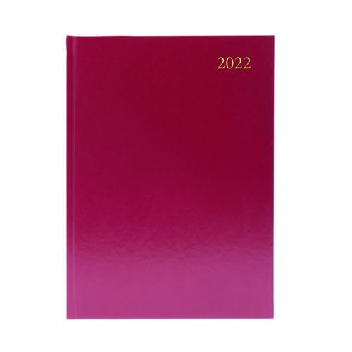 Desk Diary 2 Days Per Page A5 Burgundy 2022 KFA52BG22