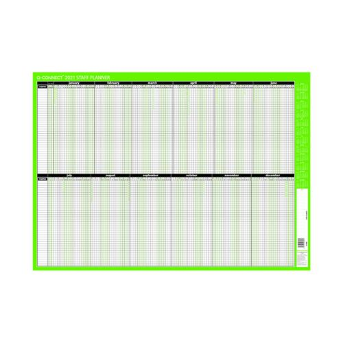 Q-Connect Staff Planner Mounted 855 x 610mm 2021 KFSPM21