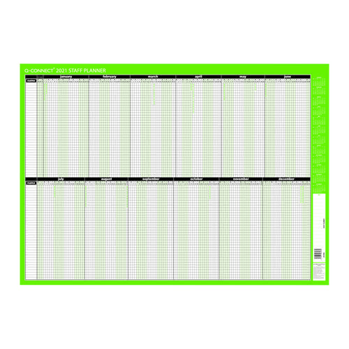 Q-Connect Staff Planner Unmounted 855 x 610mm 2021 KFSPU21