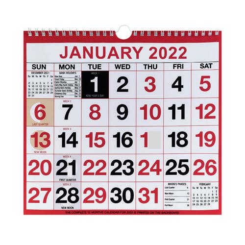 Wirebound Month To View Calendar 249x231mm 2022 KFYC2222