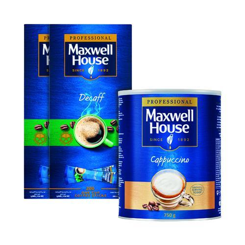 Maxwell House Decaf Sticks Pk200 Buy 2 FOC Cappuccino 750g KS818965