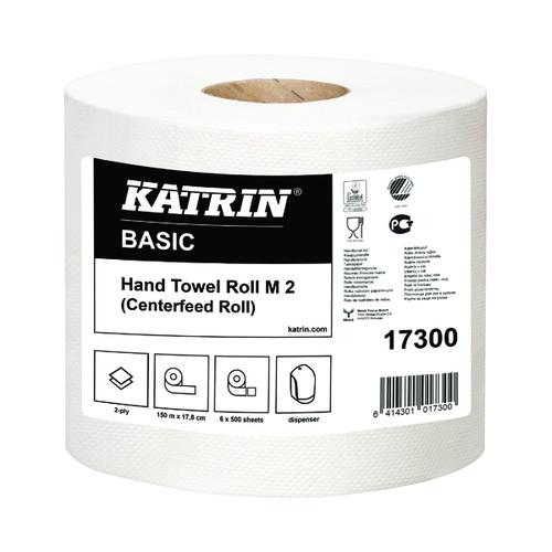 Katrin White Centrefeed 2-Ply Hand Towel White (Pack of 6) 17300