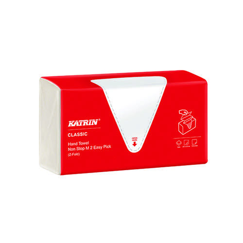 Katrin Classic Hand Towel Non Stop M2 White 135 Sheets (Pack of 8) 343122