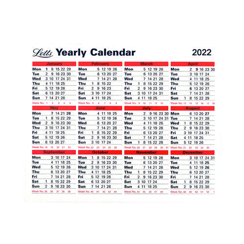 Letts Yearly Calendar 2022 22-TYC