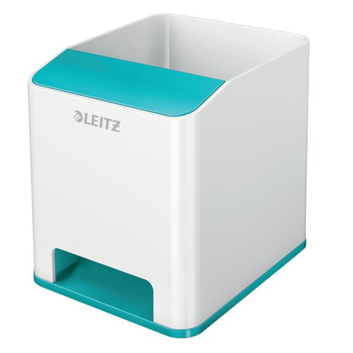 Leitz WOW Sound Pen Holder Dual Colour White/Ice Blue 53631051