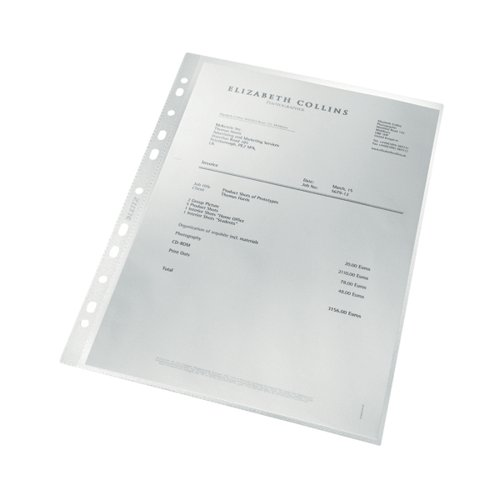 Leitz Pocket Recycled PP 100 micron A4 Clear (Pack of 25) 47913003