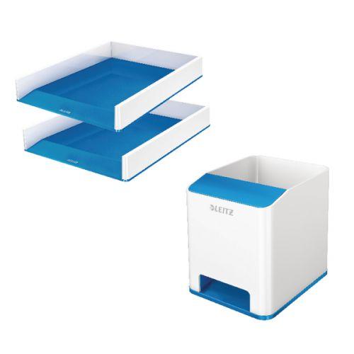 Leitz WOW BlueLetter Trays + FOC Pen Pot (2 Trays + 1 Pen Pot) LZ810799