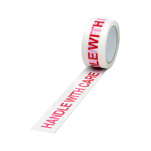 Polypropylene Tape Printed Handle With Care 50mmx66m White Red (Pack of 6) 70581500