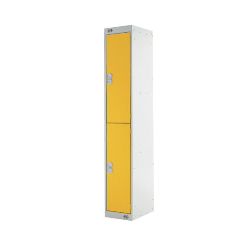 Two Compartment Locker D300mm Yellow Door (Dimensions: H1800 x D300 x W300mm) MC00012