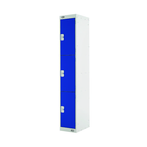 Three Compartment Locker D300mm Blue Door (Dimensions: H1800 x D300 x W300mm) MC00013