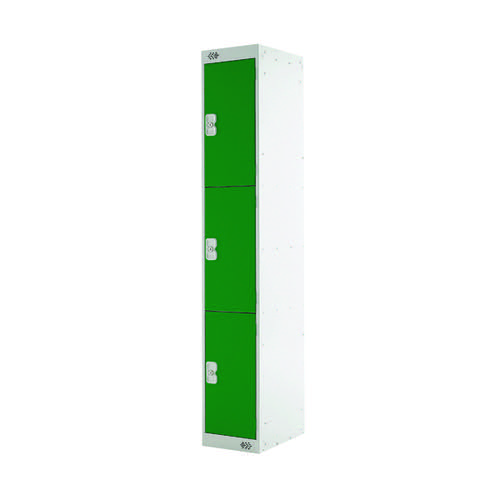 Three Compartment Locker D300mm Green Door MC00016