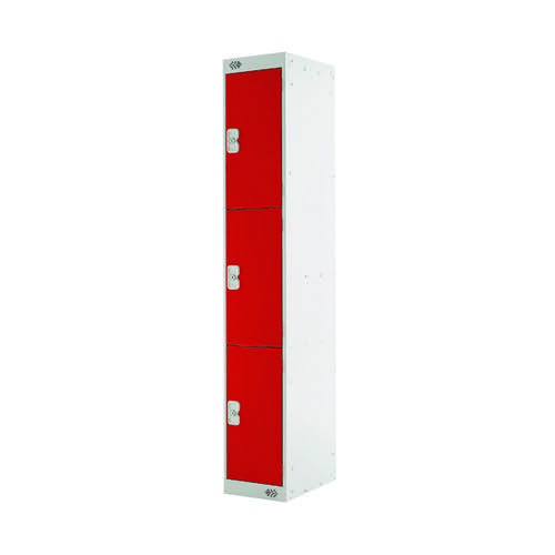 Three Compartment Locker D300mm Red Door )Dimensions: H1800 x D300 x W300mm) MC00017