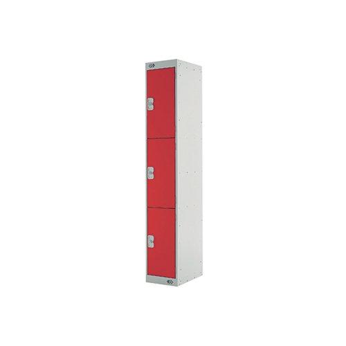 Three Compartment Locker 300x300x1800mm Red Door MC00017