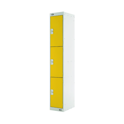 Three Compartment Locker D300mm Yellow Door MC00018