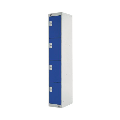 Four Compartment Locker D300mm Blue Door (Dimensions: H1800 x D300 x W300mm) MC00019