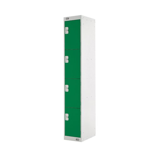 Four Compartment Locker D300mm Green Door (Dimensions: H1800 x D300 x W300mm) MC00022