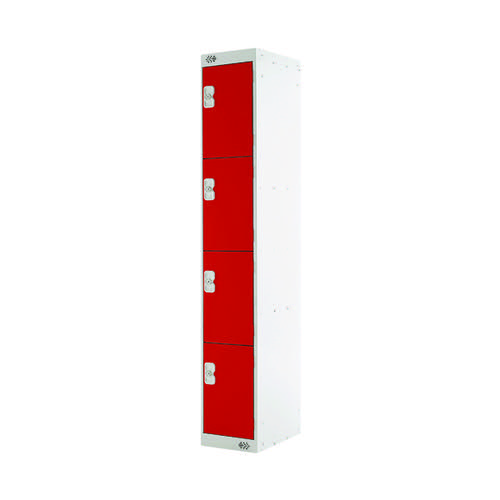 Four Compartment Locker D300mm Red Door MC00023