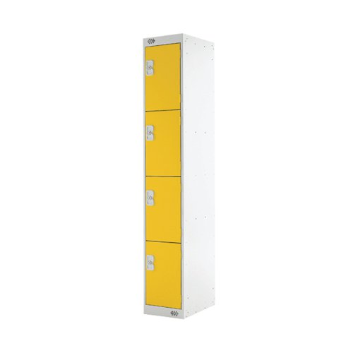 Four Compartment Locker D300mm Yellow Door MC00024