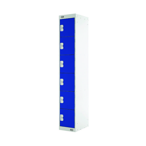 Six Compartment Locker D300mm Blue Door MC00031