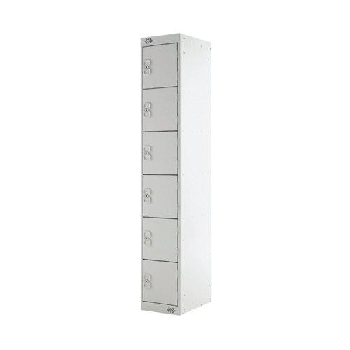 Six Compartment Locker 300x300x1800mm Light Grey Door MC00032
