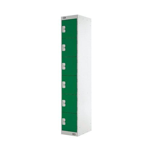 Six Compartment Locker D300mm Green Door (Dimensions: H1800 x D300 x W300mm) MC00034