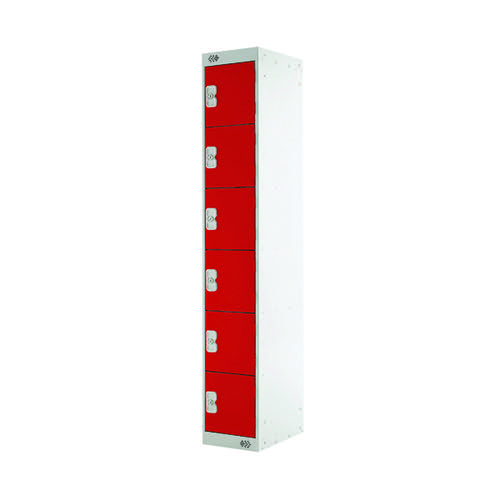 Six Compartment Locker D300mm Red Door MC00035