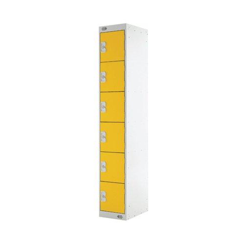 Six Compartment Locker D300mm Yellow Door (Dimensions: H1800 x D300 x W300mm) MC00036