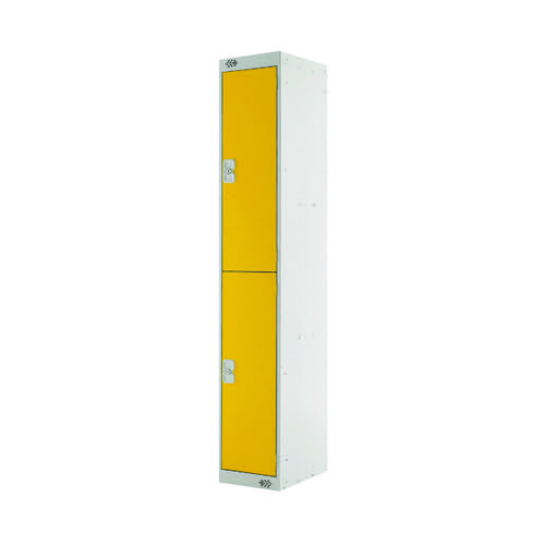 Two Compartment Locker 450mm Yellow Door (Dimensions: H1800 x W300 x D450mm) MC00048