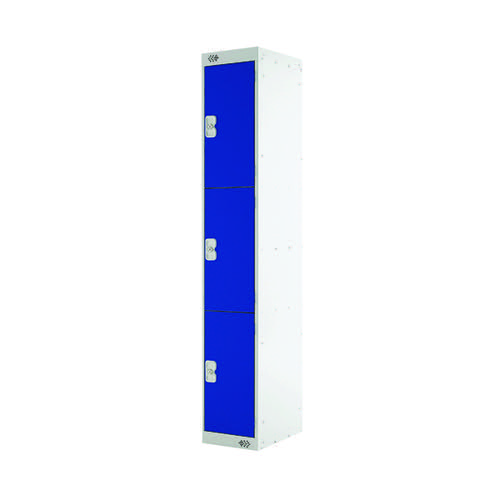 Three Compartment Locker 450mm Blue Door (Dimensions: H1800 x W300 x D450mm) MC00049
