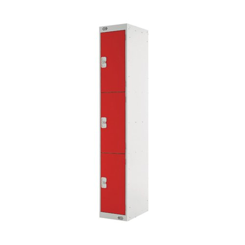 Three Compartment Locker D450mm Red Door (Dimensions: H1800 x W300 x D450mm) MC00053