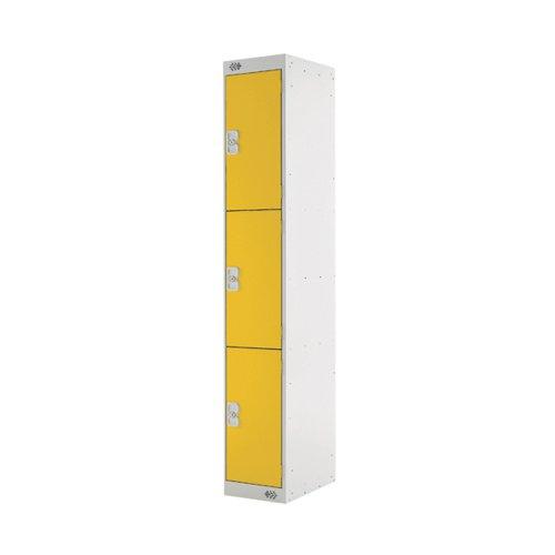 Three Compartment Locker 300x450x1800mm Yellow Door MC00054